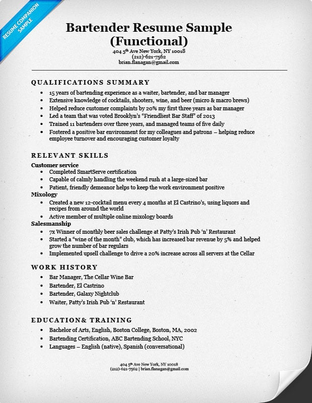 Bartender Resume Sample  Bar Tender Resume
