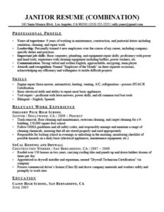 combination janitor resume example download