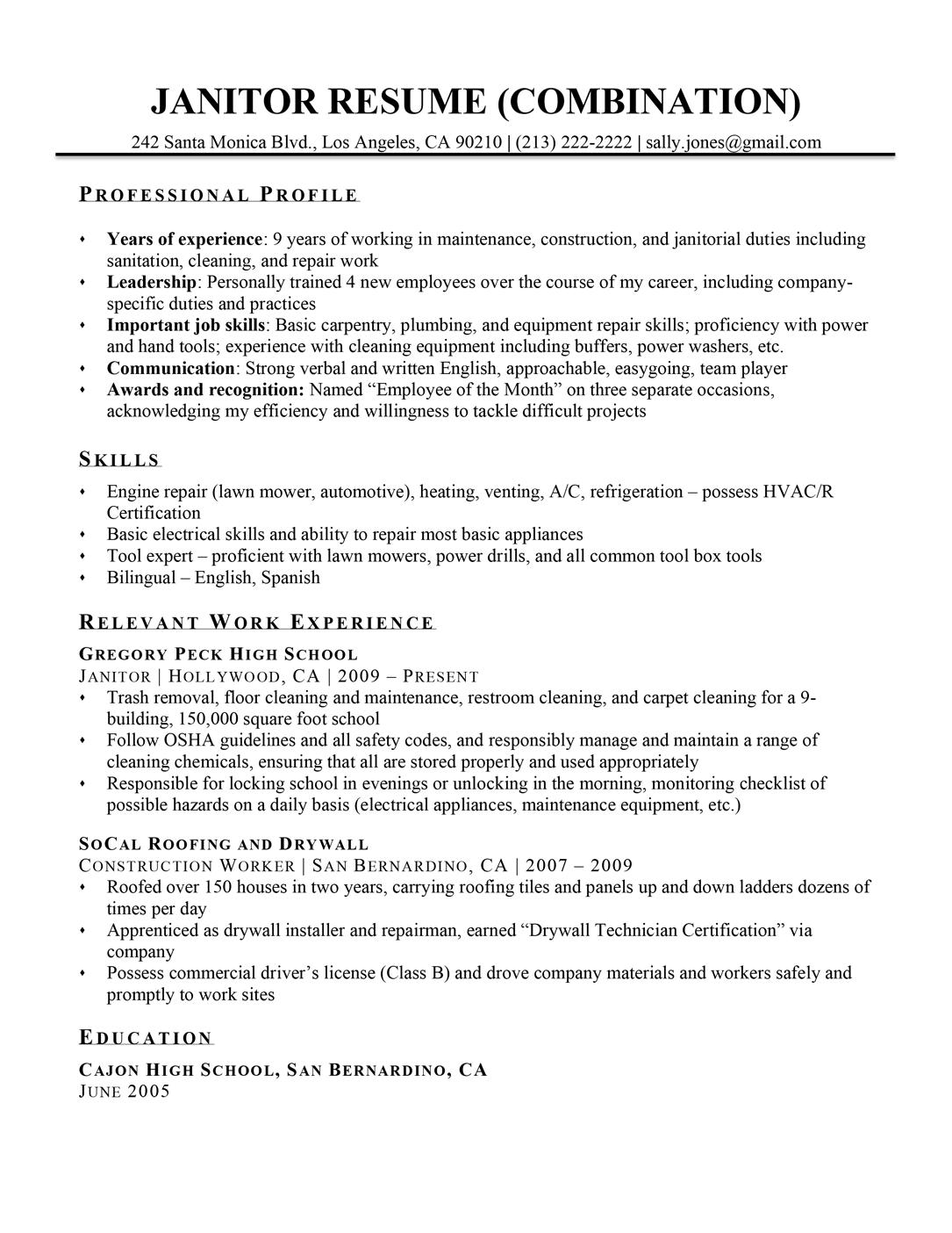Janitor Resume Sample Resume Companion