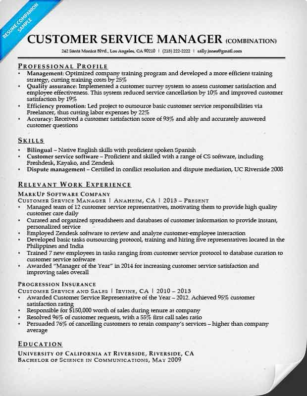 Customer Service  Combination Resume Format