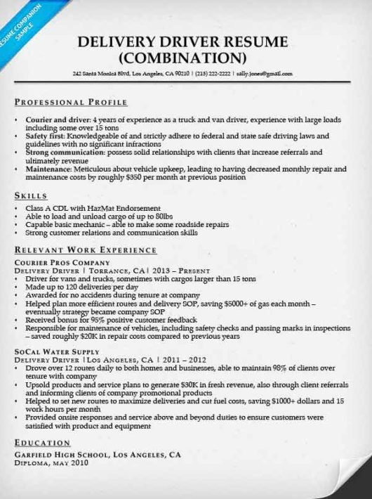 Delivery Driver Resume Sample  Resume Companion