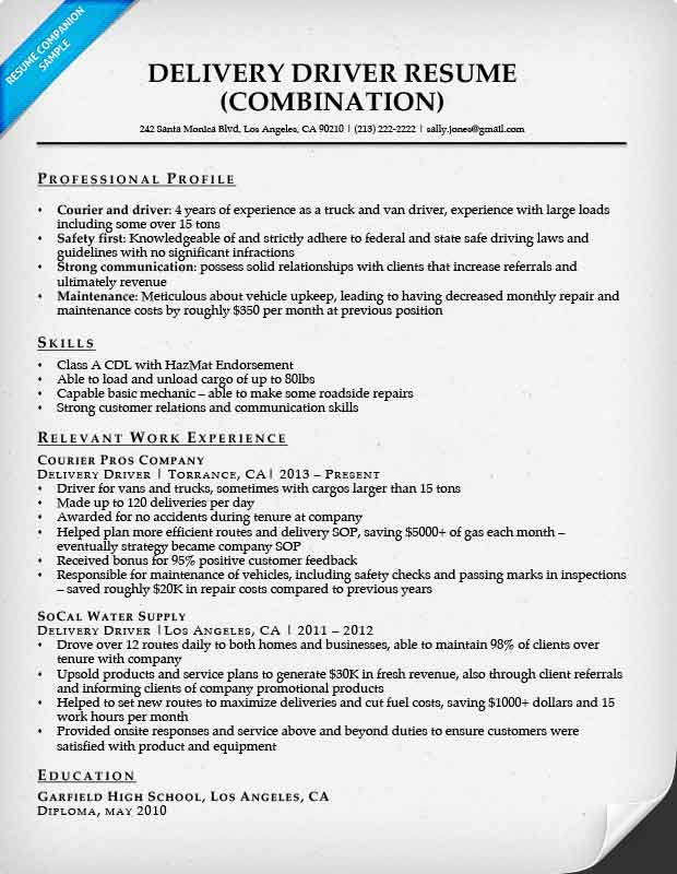 Delivery Driver Combination Resume Sample. Delivery Driver  What Is A Combination Resume