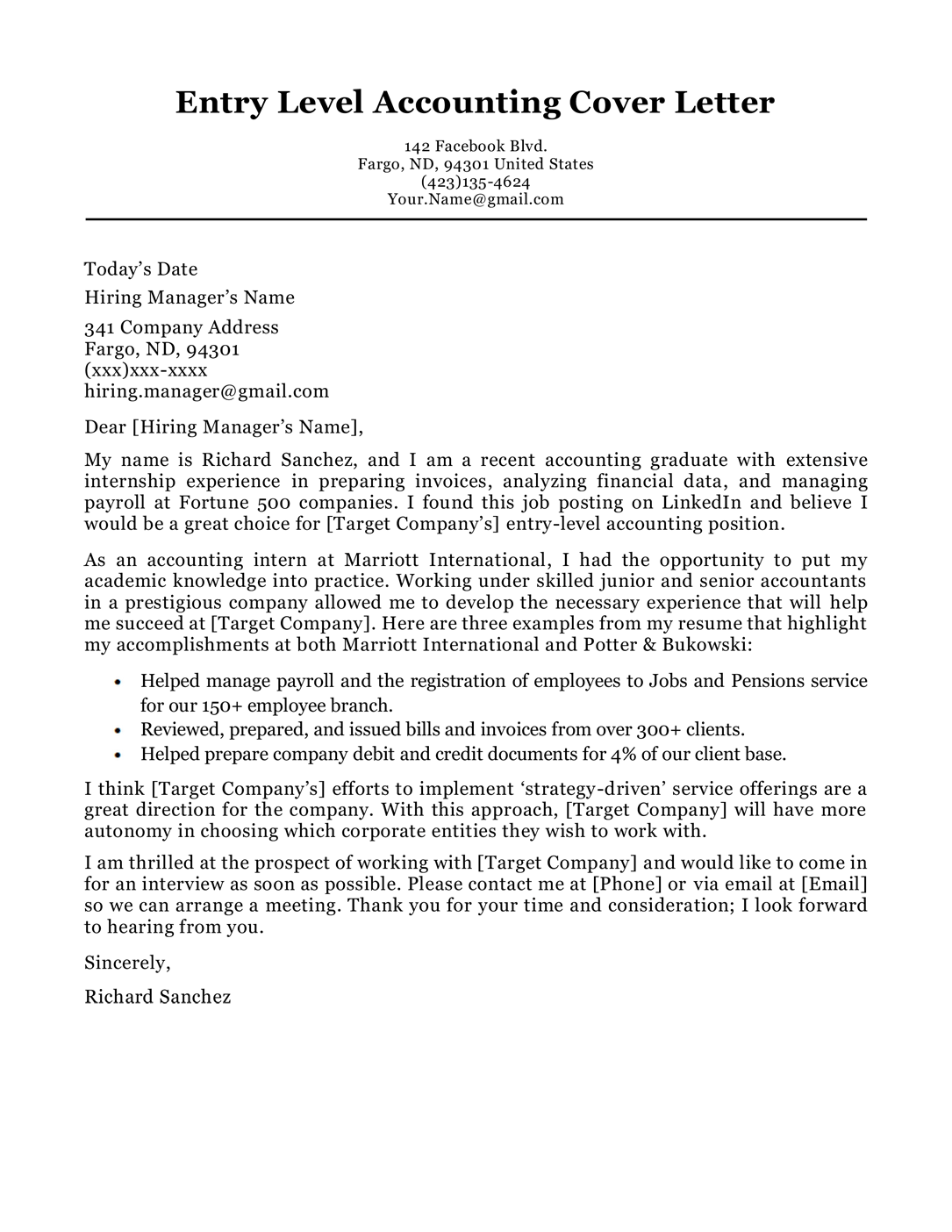 Accounting cover letter sample