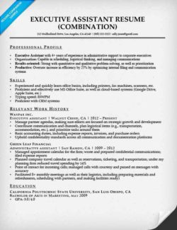 executive assistant combination resume sample - Admin Assistant Resume Template