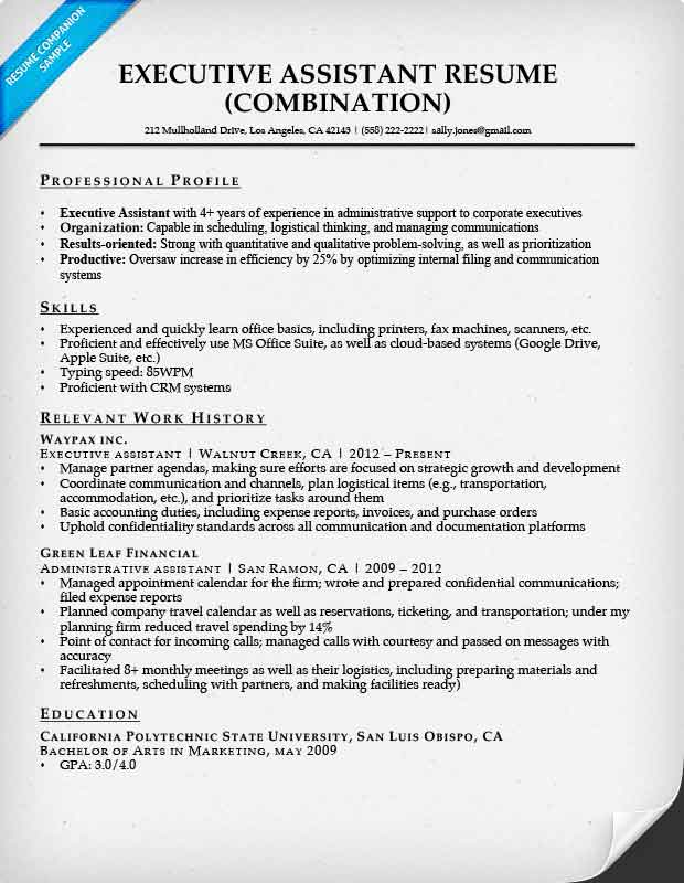executive assistant resume with career objective
