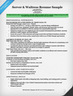 College Resume Objective Server And Waitress  Resume Examples For College Students With Little Experience