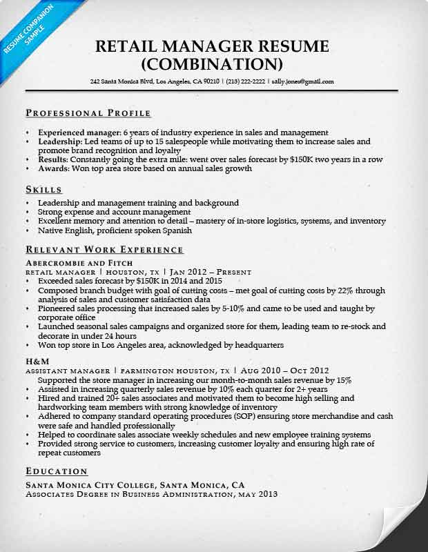 Retail Manager Combination Resume Sample  Retail Sample Resume