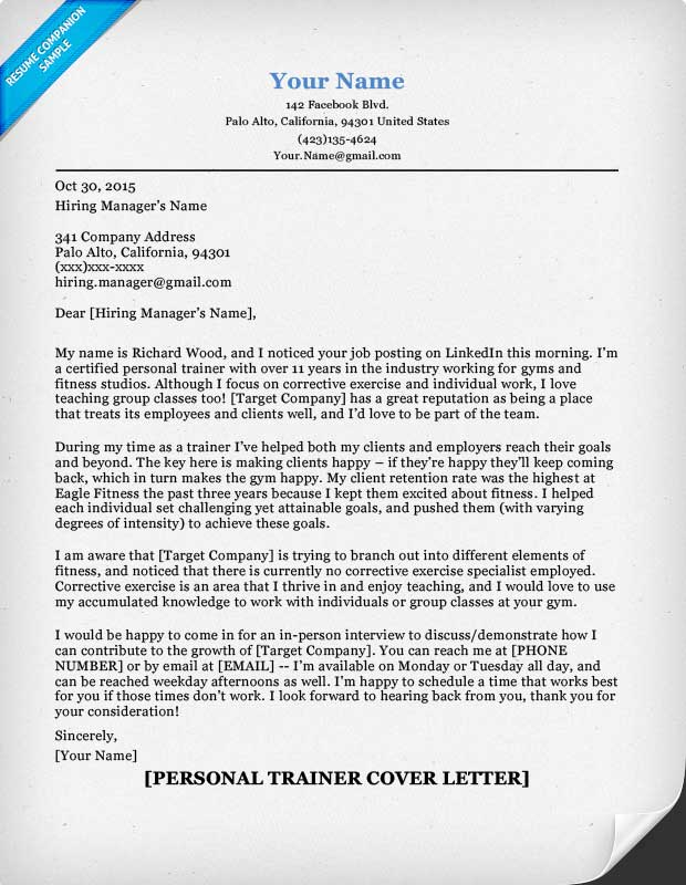 Personal Trainer Cover Letter Sample  Tips  Resume Companion