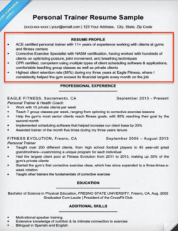 Resume Profile Example Personal Trainer  Profile On A Resume