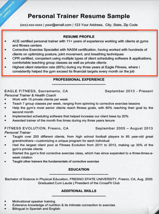 resume profile example personal trainer