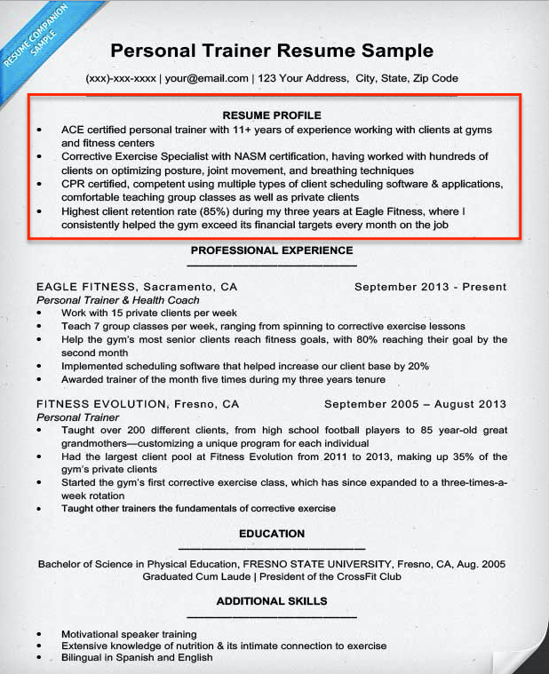 Resume Profile Example Personal Trainer  Resume Skills Summary