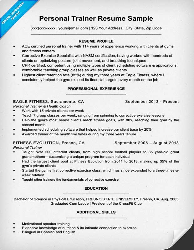 personal trainer resume sample writing tips resume companion - Personal Trainer Resume