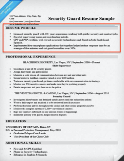 Security Guard Resume Profile  Profile For Resume