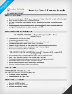 security guard resume sample - Security Resume Sample