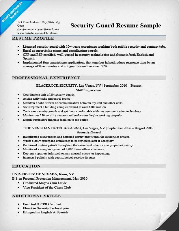 security guard resume sample amp writing tips resume companion