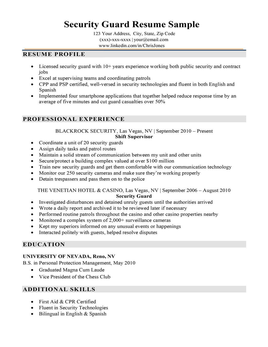 Security guard resume sample