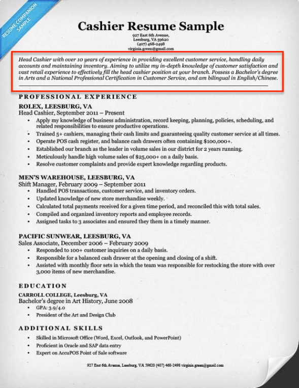 Superior Cashier Resume With Career Objective Section  How To Write A Resume Profile