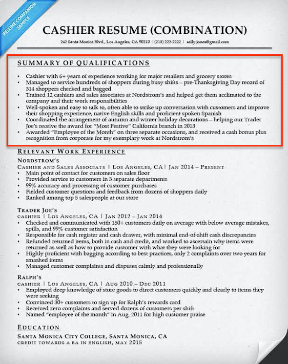 Qualifications For Resume summary of qualifications example Retail Cashier Qualifications Summary
