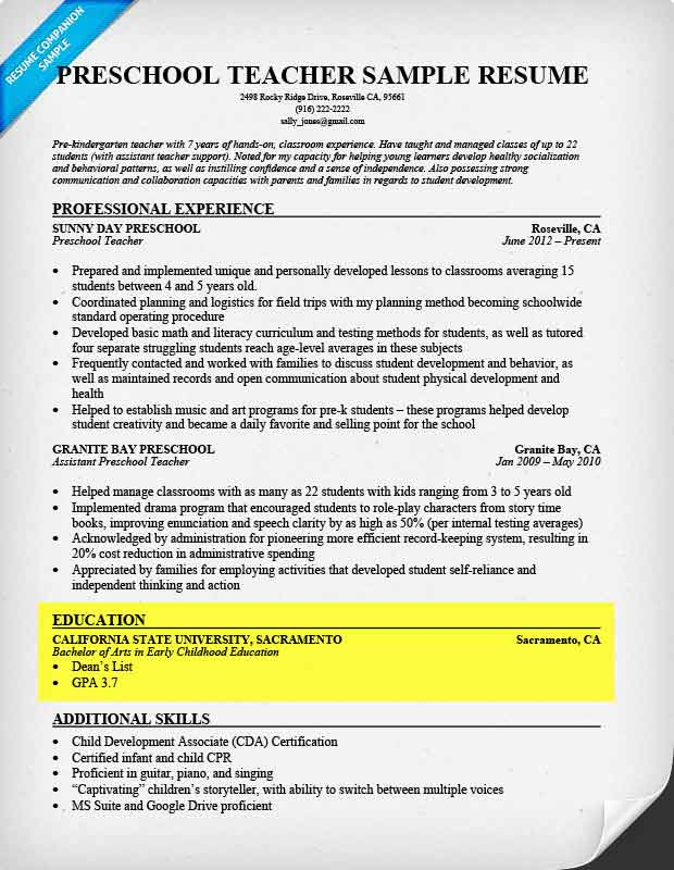 Education Section Example  Skills To Put Down On A Resume