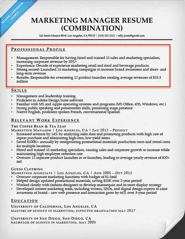 Career Objective Marketing Manager  Examples Of Resume Profiles