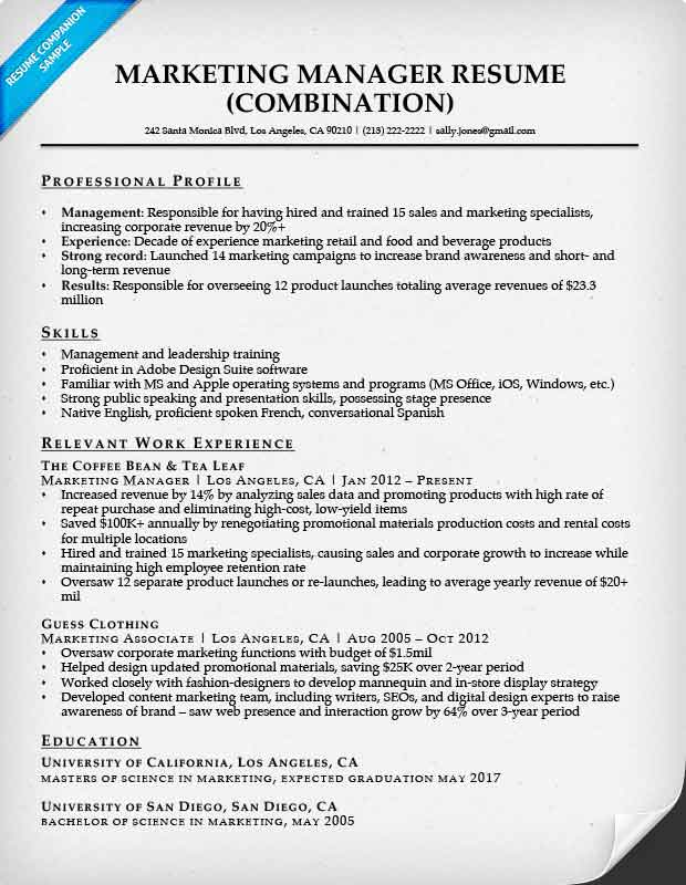Combination resume samples resume companion marketing manager altavistaventures Gallery
