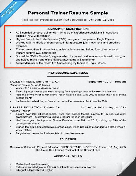 Example qualifications for resume