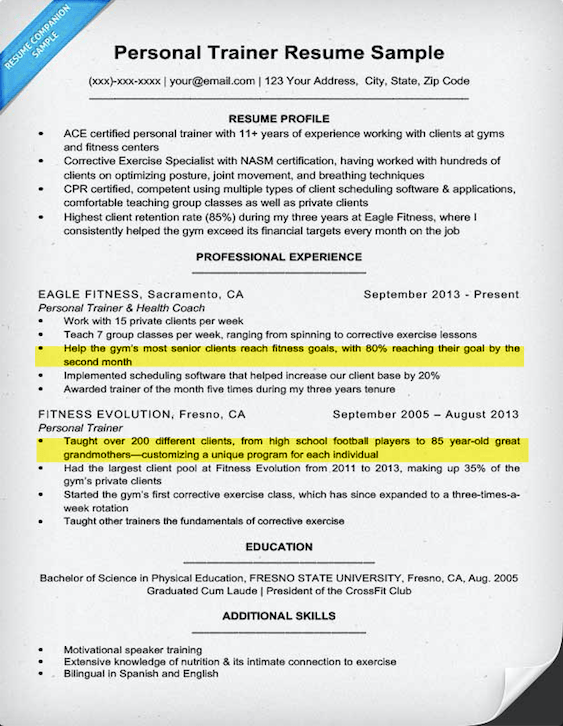 personal trainer resume sample  u0026 writing tips