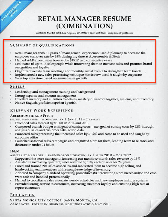 retail manager resume qualifications summary - Sample Of Summary For Resume
