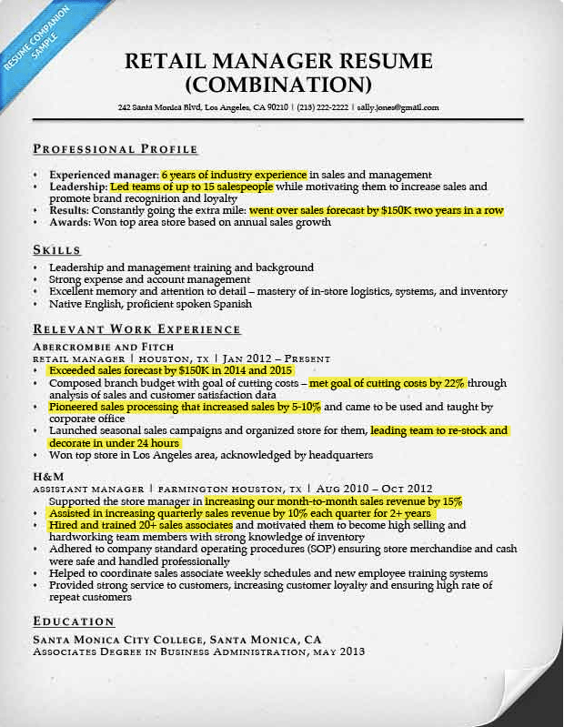 Retail Manager Resume Example Highlighted Numbers