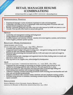 Great Retail Manager Resume Sample On Resume Profile