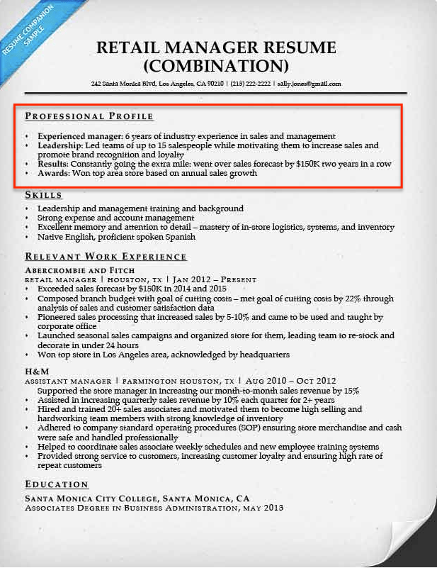 Retail Manager Resume With Professional Profile  How To Write A Profile Resume