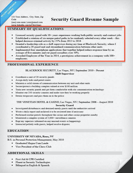 security guard qualifications summary example - Example Qualifications For Resume