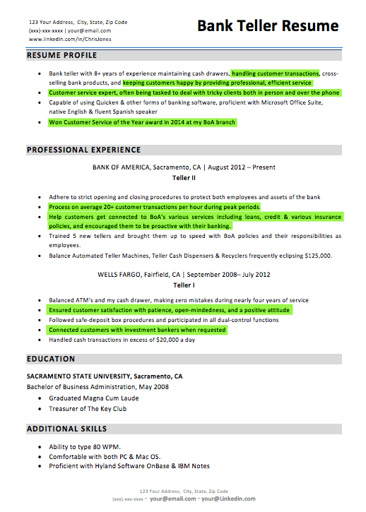 Bank Teller Resume Customer Service Highlights  Resume Experience
