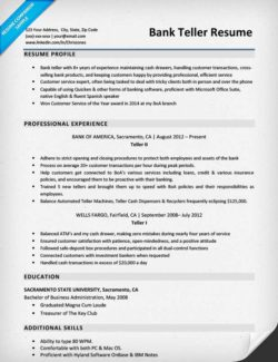 Sample Resume For Bank Teller  Teller Resume Sample