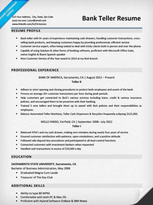 Resume Sample Resume For Bank Cashier bank teller resume sample writing tips companion for teller