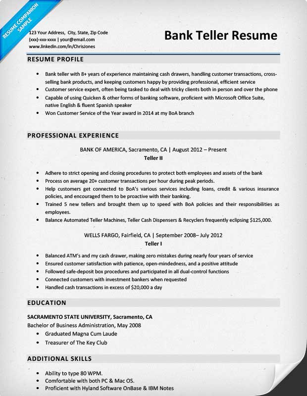 Sample Resume For Bank Teller