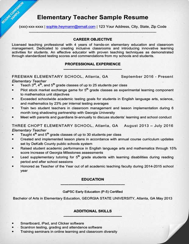 Resume Example For A Elementary Teacher  Resume Template Education