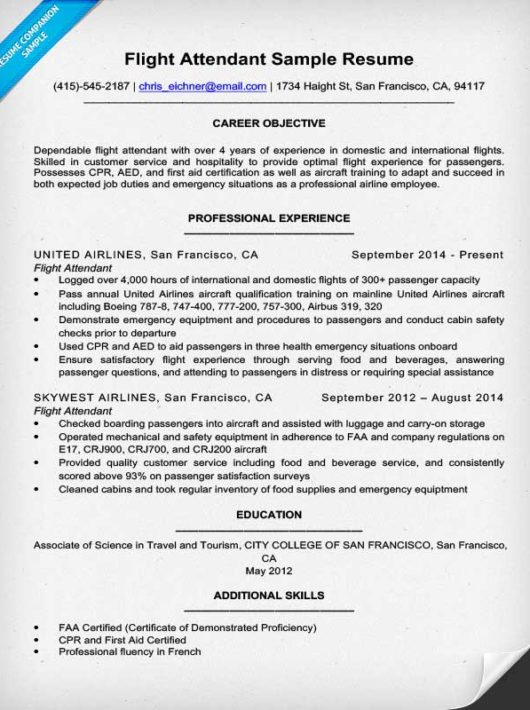flight attendant resume sle writing tips resume
