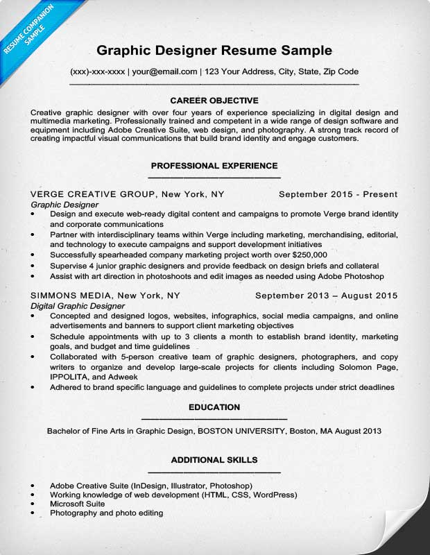 Graphic Designer Resume Sample Intended Graphic Designer Resume Objective