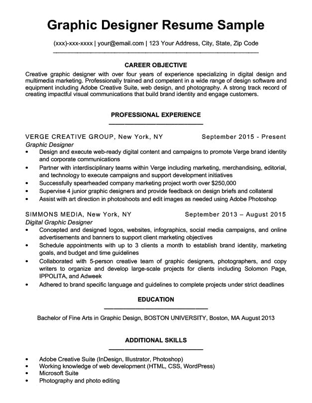 graphic design resume sample  u0026 writing tips