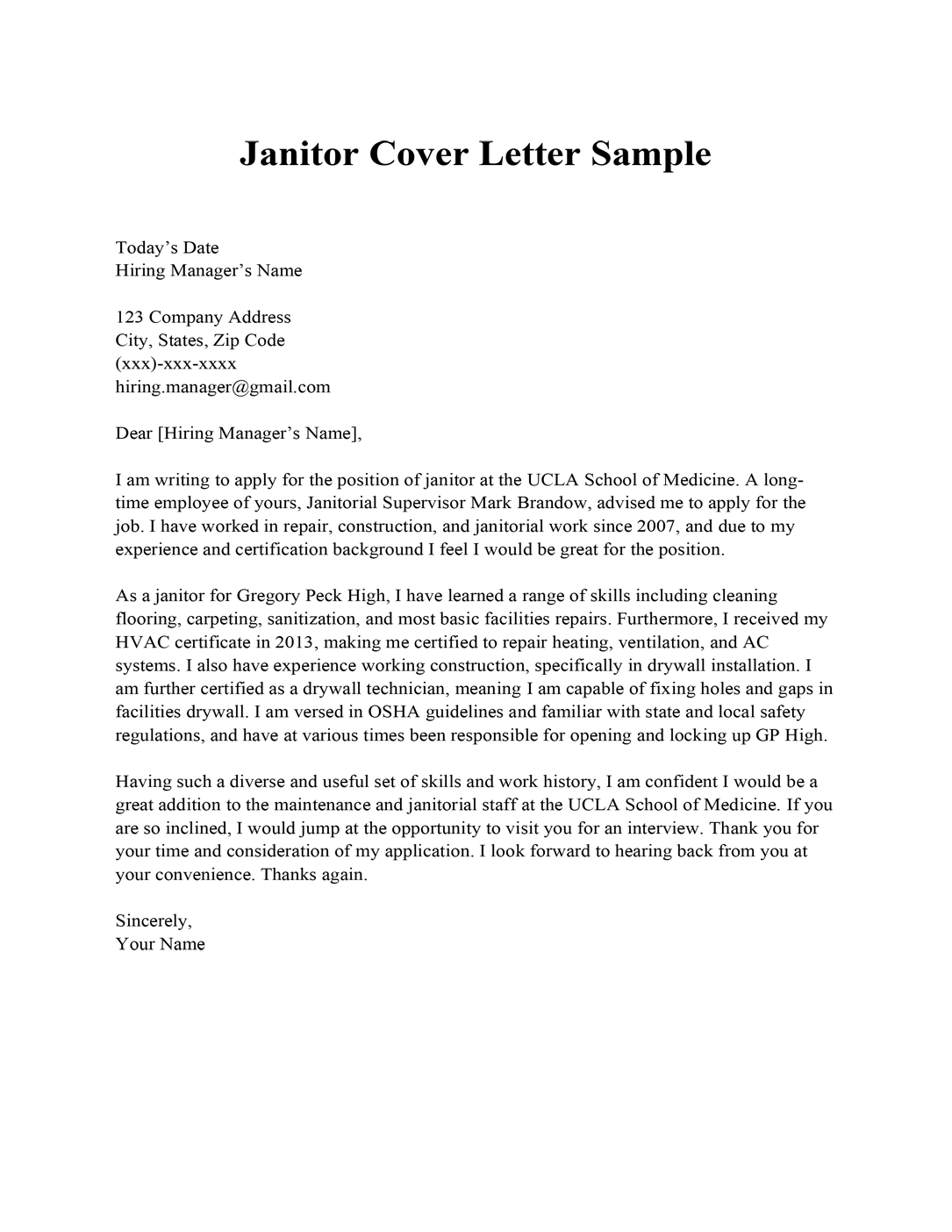 Janitor cover letter sample