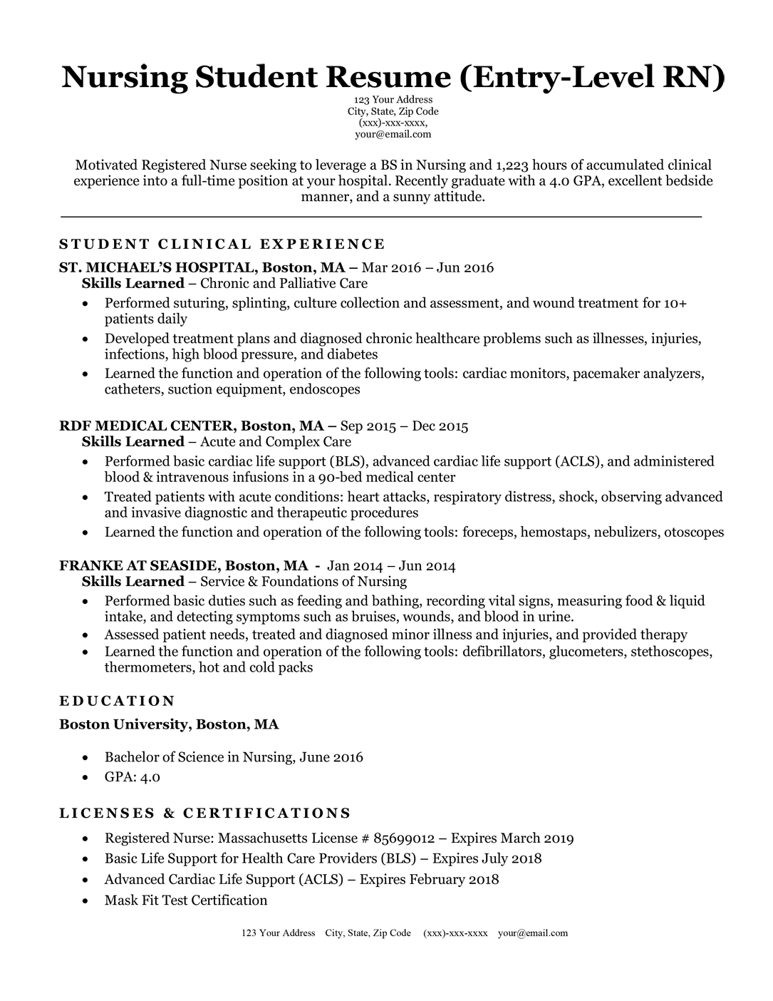 Nursing student / entry-level nurse resume sample