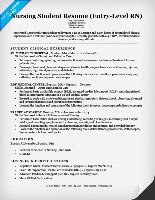 entrylevel nursing student resume sample tips resumecompanion - Nursing Student Resume Examples