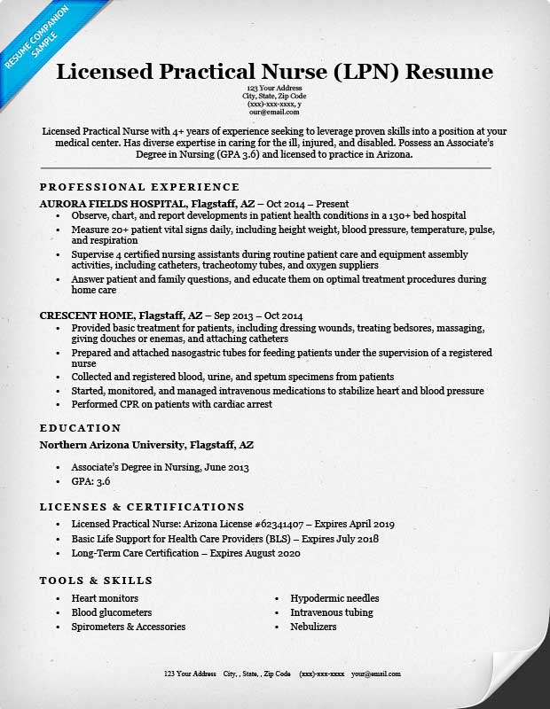 Licensed Practical Nurse (LPN) Resume Sample Regarding Lpn Sample Resume