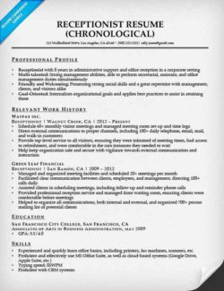 receptionist resume example - Receptionist Resumes Samples
