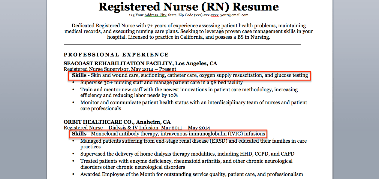 registered nurse skills list