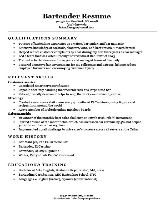 Bartending Resume Examples | Bartender Resume Sample Writing Tips Resume Companion