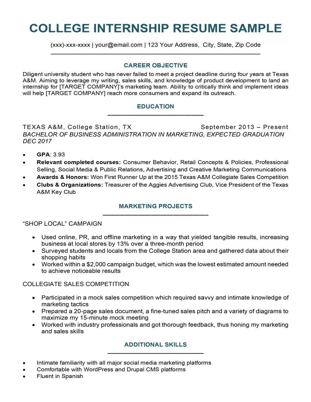 College Student Resume Sample Writing Tips Resume Companion
