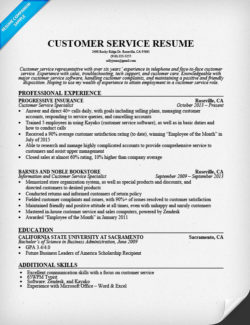 Customer Service Resume Sample  Chronological Resume Sample