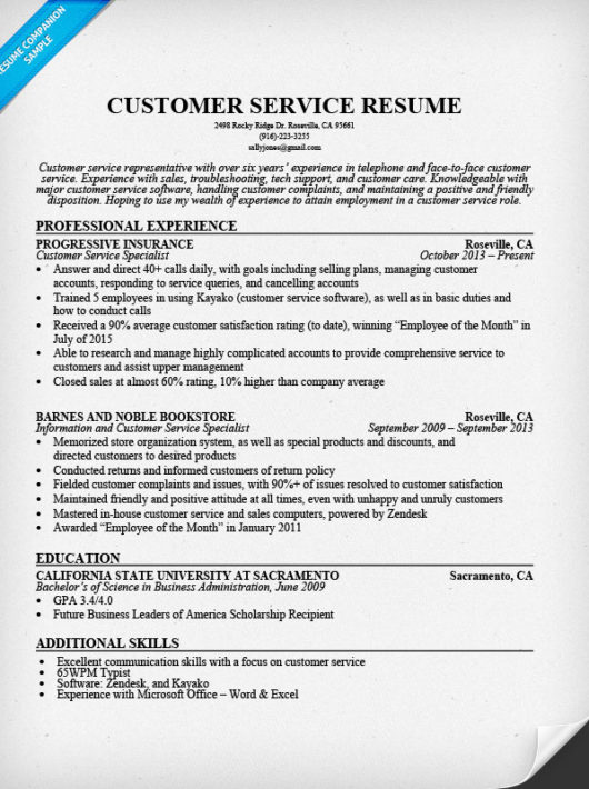 sample customer service resume student resume template no